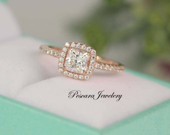 3/4 Princess Cut Halo Engagement Ring - Promise Ring - Small Ring - Rose Gold Ring - Sterling Silver Ring