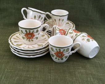 French vintage Sarreguemines Venise coffee cups and saucers - set of 8