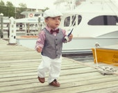 Newborn Baptism Hat- Christening Outfit- White Baby Cap- New Baby Boy White Cap- Twill Flat Cap- Wedding