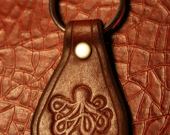 Leather Key Ring - Octopus - FOB Keychain