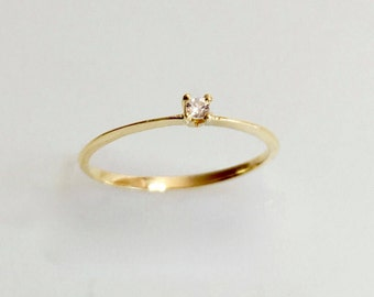 Vintage diamond engagement ring, dainty 14k yellow gold