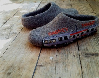 Train collector Retirement Gift Felted wool House shoes Personalized Mens gift Custom locomotive painted shoes