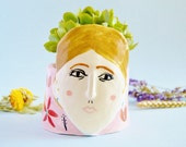Virginia Woolf ceramic vase Porcelain vase Ceramic face planter Illustrated vase Handmade pottery