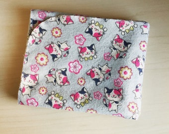 Flannel Receiving Blanket XL - Swaddle Blanket - Baby Girl Blanket - Grey Baby blanket - Cherry blossom cat