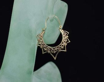 Large Hoop Earrings, Brass Heart earrings, Tribal earings, Brass Earrings, Bohochic,Festivalwear, Burnerfashion, Gypsyfashion, gift for her