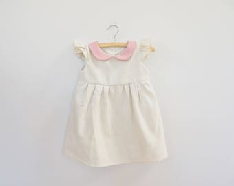 Girl Baby Linen Dress, Girl Toddler Peter Pan Collar Dress, White, Cream Linen and Pink Collar, 1st Birthday Dress, Holiday dress, Handmade