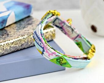 Dog Collar - World Traveller Print - Yellow Gold, Rose Gold, Silver, Gunmetal, or Plastic Hardware