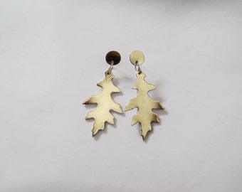 Chandelier Leather Earrings - Metallic - Statement - Leaf - 3rd - 9th anniversary gift for her - Handmade jewelry