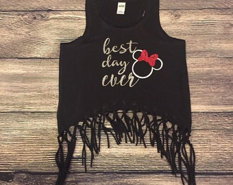 Best Day Ever Disney tank | Fringe tank | Summer top | Bathing suit cover | beach shirt