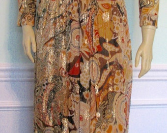 Vintage Gown Ruth McCulloch Evanston Metallic Chiffon Art Deco Pattern 1970s