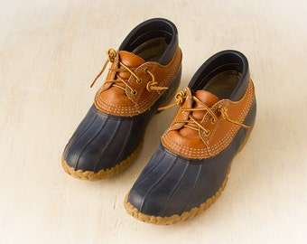 Vintage L.L. Bean Maine Hunting Shoes (c.70's, 80's) Low Rubber Duck Boots Size 11 LM /  Blue and Leather Rain Boots , RETRO Winter Shoes