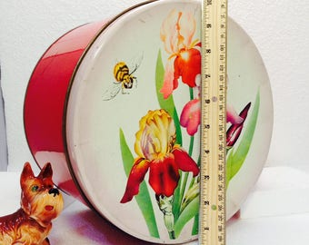 Vintage Tin Iris Metal Tin Big Flowers on Red Tin Large Tin Large Tin Round Tin Hat Tin Metal Tin Tin Container Big Metal Tin Tin Box