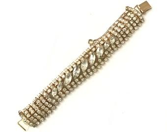 Vintage 1950s Rhinestone Bracelet // 1950s Gold Plated Rhinestone Navette Crystal Bracelet