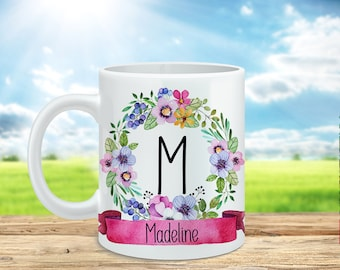 Personalized Name Coffee Mug, Monogram Initial Mug, Customized Cup, Bridesmaid Mug, Bridesmaid Gift, Floral Mug, Name Mug, Yellow, Pink