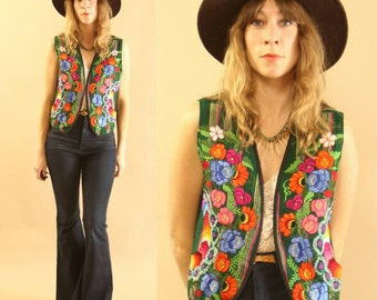Bright Multicoloured Vintage Mexican Floral Embroidered, Cotton Vest