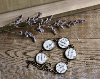 Sherlock bracelet. Recycled book page bracelet.  Lestrade, Watson, Holmes, Moriarty, Mycroft. Arthur Conan Doyle