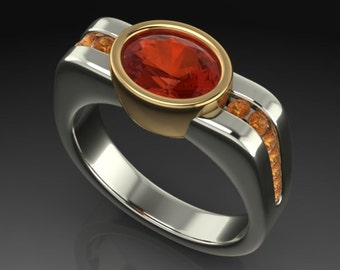 Mexican Fire Opal Ring & Citrine Ring