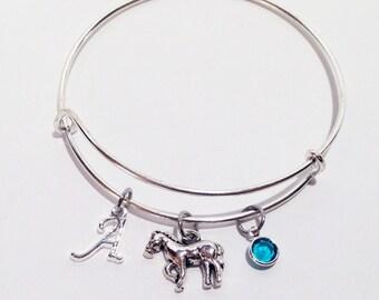 Horse Jewelry, Horse Lover, Horse Bangle, Equestrian Bracelet, Horse Bracelet, Initial Bracelet, Horse Charm Bracelet, Personalized Jewelry