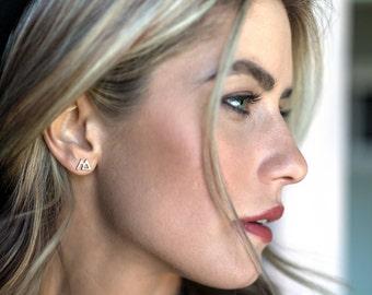 Mountain earrings; stud earrings; gold or silver earrings; the mountains are calling; mountain jewelry