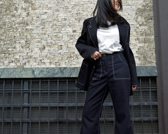 Deep denim flare pants - contrast seam