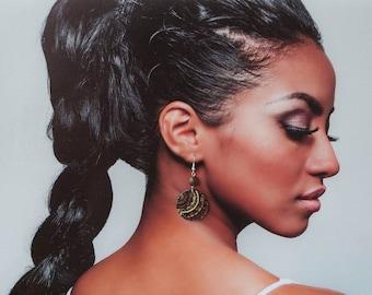 Arabic earrings, Abstract earrings, Brown and golden earrings, Ornament earrings, Brown dangle earrings, Brown earrings, Brown earings