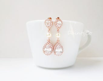 Silver / Gold / Rose gold - CZ pearl earrings