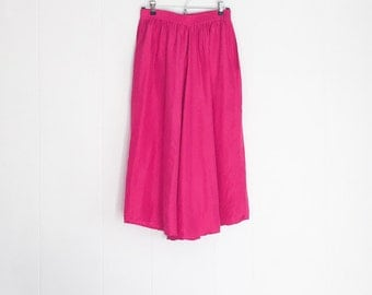 Silk Skirt - Vintage Skirt - Maxi Skirt with Pockets - Silk Maxi Skirt -Hot Pink Dress -Long Skirts for Women -Long Pink Skirt -80s Clothing