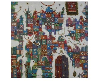 Original Handpainted Acrylic Canvas Wall Art Contemporary Abstract Aztec Doors Collage by Mohammed Ismail -70x70cm