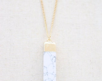 Long necklace, long pendant necklace, pendant necklace, marble necklace, gold necklace, white necklace, gold jewelry, gift for her, boho