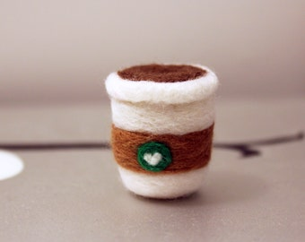 Cute Mini Starbucks Inspired Coffee Cup Plush Keychain Accessory Needle Felted Plushie Christmas Ornament Gift Charm