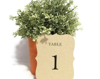 Wedding Table Numbers | Rustic Table Numbers | Kraft Table Numbers | Wedding Ceremony and Reception