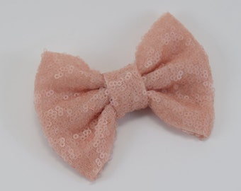 Blush hair bow.Pink Headband.Pink Glitter headband.pink hair clip.pink Sequin hair clip.sequin headband.glitter hair clip.baby headband.