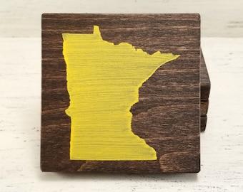 Pick State, Pick Color, Minnesota Wood Coasters, Set of 4, Wedding Gift, Housewarming Gift