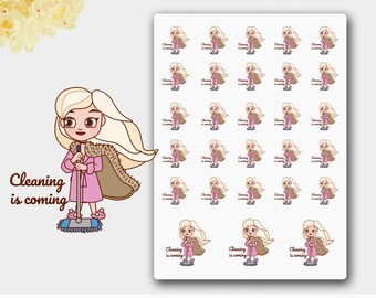 Clean House, Clean Stickers, Mopping Stickers, To Clean Stickers, To Clean Planner Stickers, Cleaning Stickers,  Cleaning Girl, Joan Snow