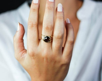 Smoky Quartz Ring, Smoky Quartz Gold Ring, 14K Solid Gold Ring, Double Gold Ring, Gemstone Gold Ring, Brown Gemstone Ring, Stone Ring GR0232