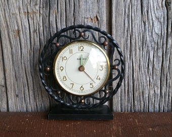 French Vintage Wrought Iron 1950s Mechanical Alarm Clock  -  Retro Metal Bayard Working Alarm Clock