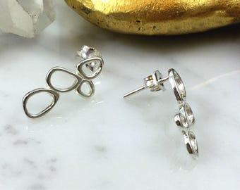 Pebble Earrings, Stud Earrings, Drop Earrings, Blackened Silver Earrings, Drop Earrings, Unique Silver Earrings, Pebble Stud Earrings