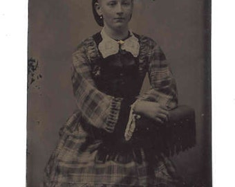 Antique Tintype 1800s Vintage Photograph Antique Photo Woman Chair Black White Plaid Dress