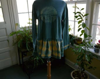 Shibori long sleeve t-shirt indigo dyed - Women's Size Small - Free Shipping!