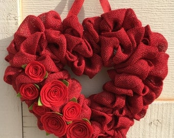 Valentine wreath,Valentine burlap wreath,Valentine burlap heart wreath,Burlap heart wreath,Heart wreath,Valentine decor,Valentines