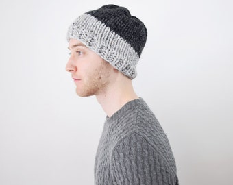 Mens Knit Hat Chunky Grey Beanie - The 'Arctos' Chunky Knitted Gray Men's Tuque in 'Fossil' and 'Iron'