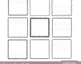 Square Clip Art Frames, Frame Clipart, Doodle Clip Art, Hand Drawn Clip Art, Black and White, Digital Stamp, Digital Frame, Instant Download