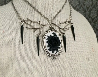 Rose cameo necklace // rose thorn necklace // gothic necklace // white rose necklace // branch necklace // bib necklace // gothic choker