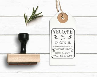 Welcome Stamp - Wedding Favor Custom Stamp - Tag Stamp- Wedding Bag Welcome Tag - Wedding Guest Bag Tag- Wedding Stamp - Welcome Bag Wedding
