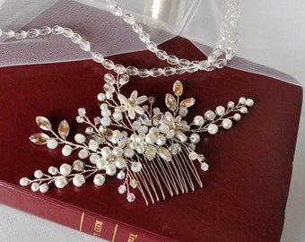 bridal hair comb bridal headpiece wedding hair comb pearl and crystal hair comb wedding hair accessories wedding headpiece bridal headband
