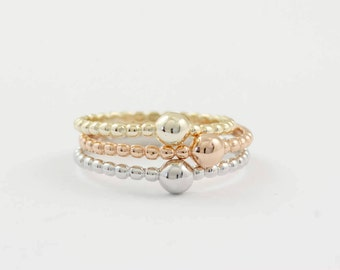 Dot Ring, Gold Dot Ring, Gold Beaded Ring, Dotted Ring, Silver Beaded Ring, Stacking Beaded Ring, Silver Knuckle Ring, Stacking Ring, SR0410