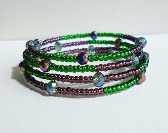 Purple and Green Beaded Wrap Bracelet, Purple Beaded Wrap Bracelet, Green Wrap, Purple Wrap, Crystal Wrap, Green Bracelet, Cuff Bracelet