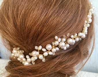 Bridal headpiece, wedding hair vine, Ivory pearl hair vine, bridal headpiece, gypsophila, baby breath headpiece, wedding hair accessories