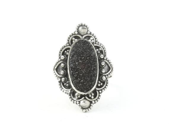 Temptress Ring, Sterling Silver Black Drusy Ring, Druzy Jewelry, Gemstone, Boho, Gypsy, Wiccan, Hippie, Spiritual