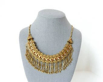 Vintage Gold Bib Necklace in Ornate Design with Red Rhinestones from 1950s